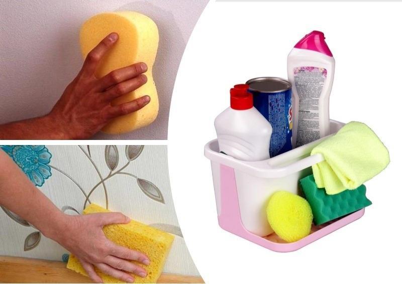 Для очистки обоев и декоративной штукатурки можно использовать средства бытовой химии