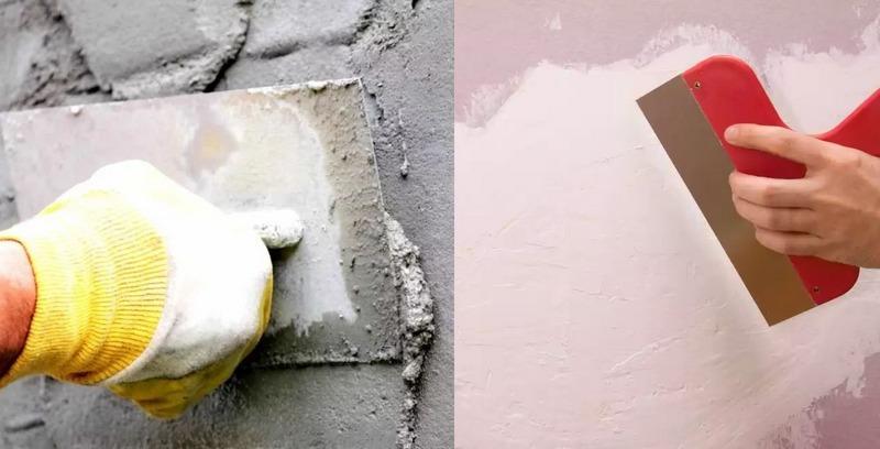 Если стена имеет перепады, стоит выравнивать их с помощью штукатурки, если дефекты очень маленькие, их следует шпаклевать