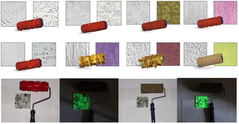 Фактурные валики применяют создания оттисков деревянной, кирпичной и других видов поверхностей