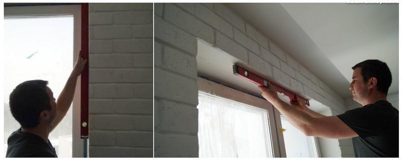 Геометрию проемов и откосов проверяют с помощью строительного уровня