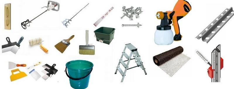 Инструменты и материалы для нанесения жидкой штукатурки