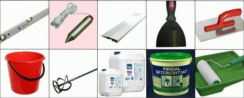 Инструменты и материалы, используемые для штукатурных работ
