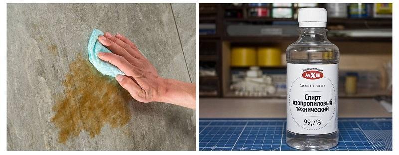 Обезжиривание каменных поверхностей производят с помощью технического спирта