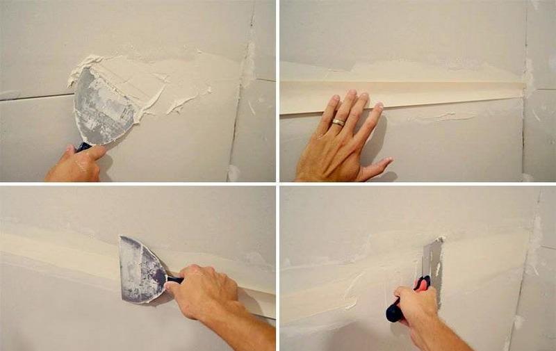Подготовка гипсокартонных стен к шпаклеванию состоит из заделки швов на стыках