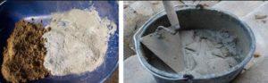 Постепенно добавлять песок и цемент в пропорции 2 к 1