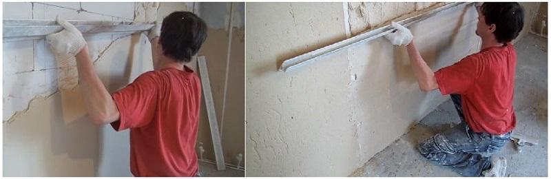 Правило при разравнивании штукатурки двигают от пола к потолку – 2-3 раза