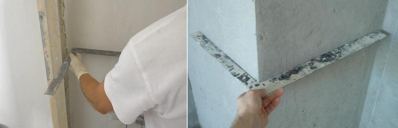 Проверку оштукатуренных углов проводят с помощью специального уголка