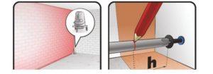 Регулировку шляпок крепежа проводят по лазерному уровню