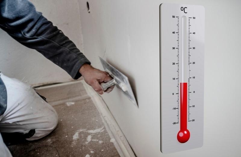 Рекомендованная температура в помещении для штукатурных работ – не меньше +8°C