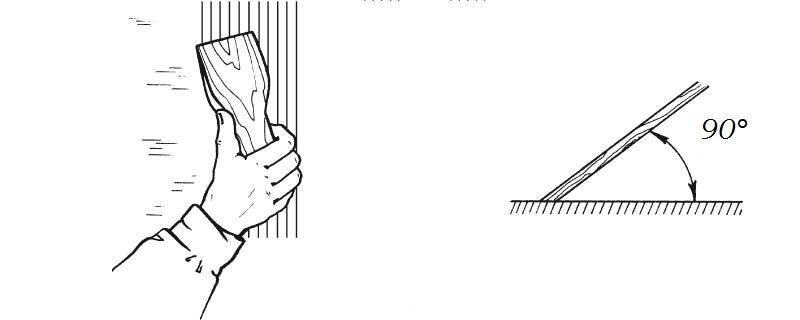 Шпаклевочная смесь наносится шпателем под углом 90 градусов