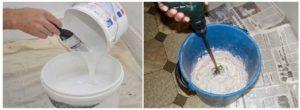 Сливают отстоявшийся раствор в чистую емкость и замешивают с его помощью смесь