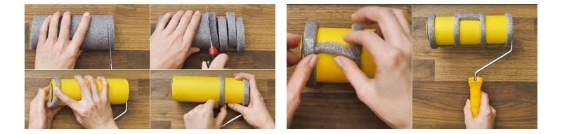 Техника изготовления декоративного инструмента из обойного валика и утеплителя
