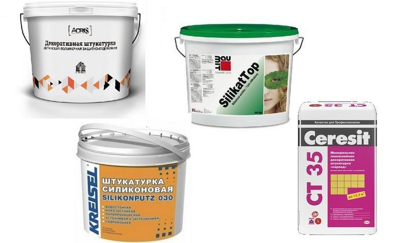 Типы штукатурных декоративных смесей в зависимости от главного связующего вещества