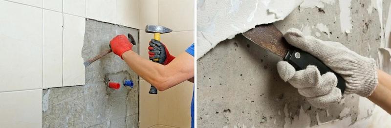 Предварительная подготовка стен включает демонтаж плитки и старой штукатурки