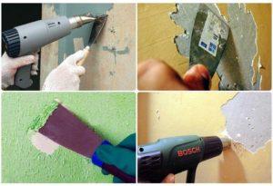 Старую штукатурку, краску, обои и другую отделку удаляют