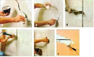 Трещины в стенах расширяют и замазывают, укрепив серпянкой