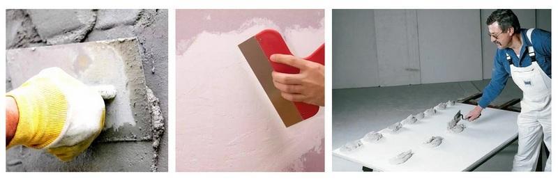 Выровнять стены можно шпаклёвкой, штукатуркой или гипсокартоном на клею